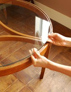 x-550-f アンティークネストテーブルのガラス天版