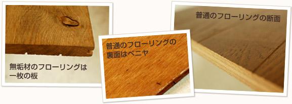無垢材のフローリングは一枚の板 普通のフローリングの裏面はベニヤ